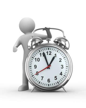 Alarm clock on white background. Isolated 3D image Stock Photo - 6842272