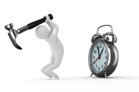 Alarm Clock Repair. Isolated 3D Image On White Stock Photo - 6847843