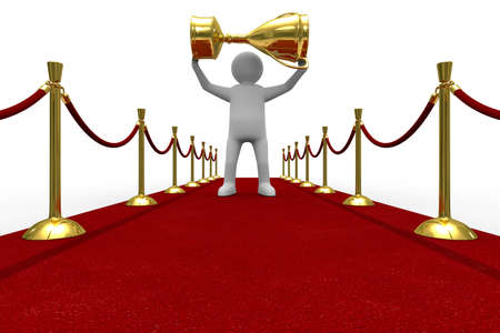 Red carpet on white background. Isolated 3D image Stock Photo - 6866131