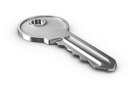 Isolated key on white background. 3D image photo