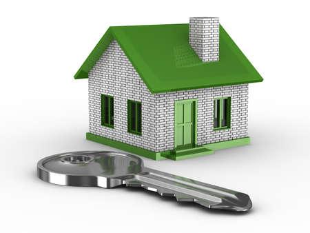 key and house on white background. 3D image Stock Photo - 6915551