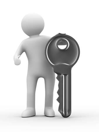 latch: key and man on white background. 3D image