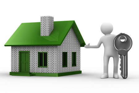 Presentation of new house. Isolated 3D image Stock Photo - 6915547