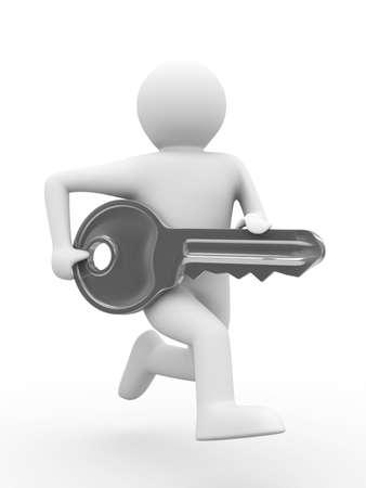 key and man on white background. 3D image Stock Photo - 6915542