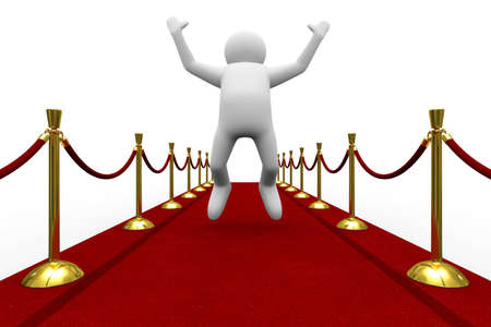 Red carpet on white background. Isolated 3D image photo