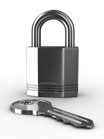 Isolated key and padlock on white background. 3D image photo