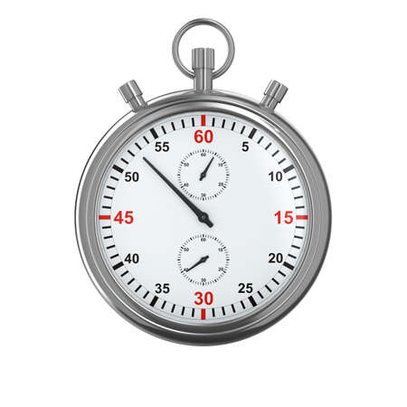 2nd: Stopwatch on white background. Isolated 3D image