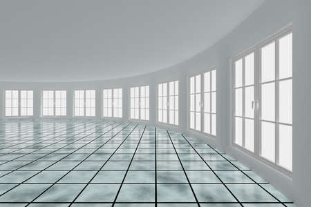 Empty hall with windows. Interior. 3D image Stock Photo - 6915548