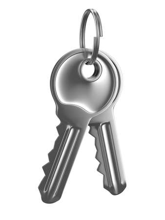 Isolated two keys on white background. 3D image photo