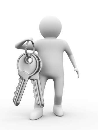 two keys and man on white background. 3D image photo