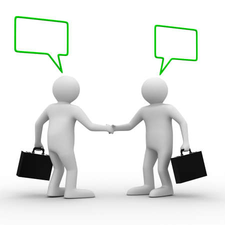 Handshake. Meeting two businessmen. Isolated 3D image Stock Photo - 6967714