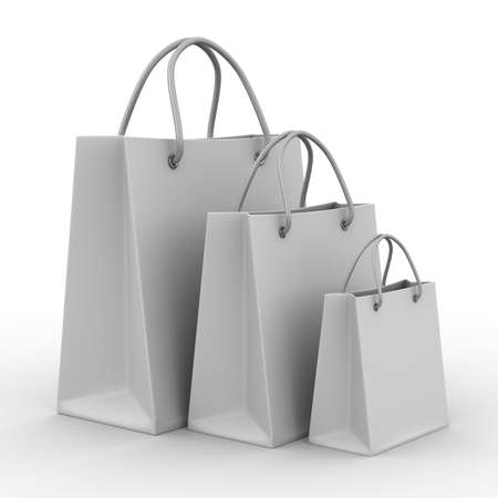 Three shoping bags on white. Isolated 3D image photo