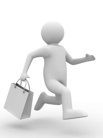 Shoping: Man with shoping bag on white. Isolated 3D image