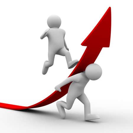 leiderschap: man klimmen rode pijl. Geïsoleerde 3D beeld