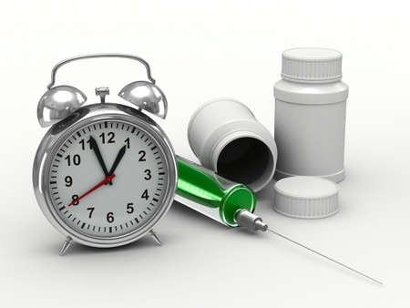 intake: Drug intake under schedule. Isolated 3D image Stock Photo
