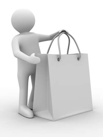 Man with shoping bag on white. Isolated 3D image Stock Photo - 7098996