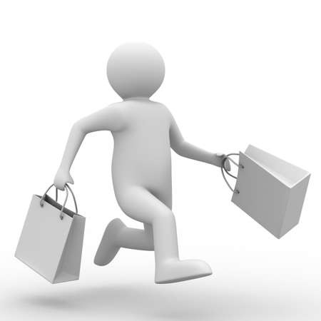 Man with shoping bag on white. Isolated 3D image Stock Photo - 7098994