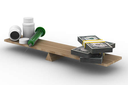 Medicine and money on scales. Isolated 3D image photo