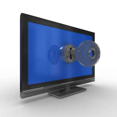 TV and key on white background. Isolated 3D image Stock Photo - 7107895