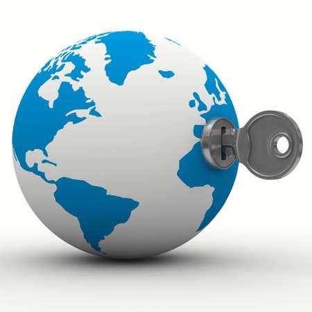 world and key on white background. Isolated 3D image Stock Photo - 7107886