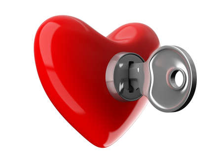 Key from heart. Isolated 3D image on white Stock Photo - 7116441