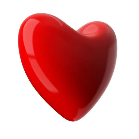 fondness: heart on white background. Isolated 3D image