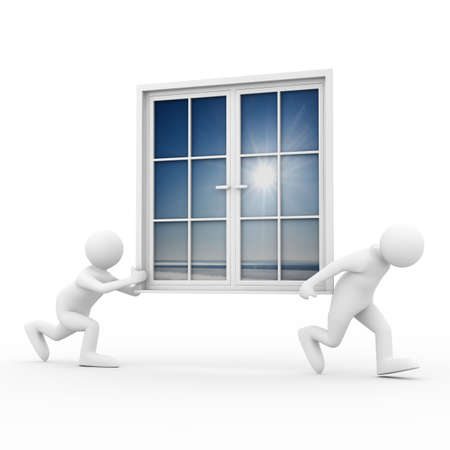 furniture idea: Two man carry window on white background. Isolated 3D image