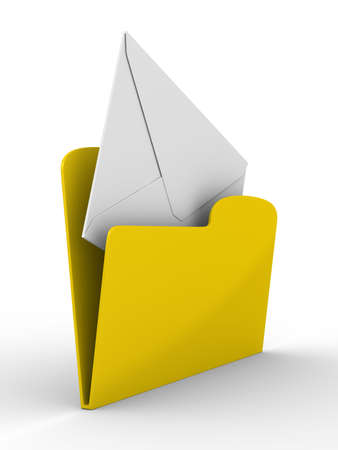 Yellow computer folder with mail on white background. Isolated 3d image  photo