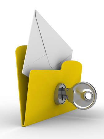 encryption: Yellow computer folder with mail on white background. Isolated 3d image Stock Photo