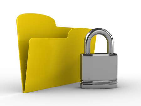 Yellow computer folder with lock. Isolated 3d image photo