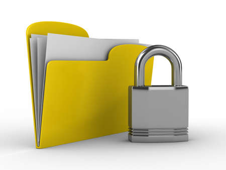 assent: Yellow computer folder with lock. Isolated 3d image Stock Photo