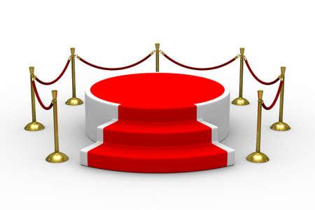 stanchion: podium on white background. Isolated 3D image Stock Photo