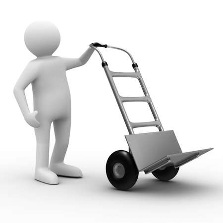 work load: hand truck on white background. Isolated 3D image