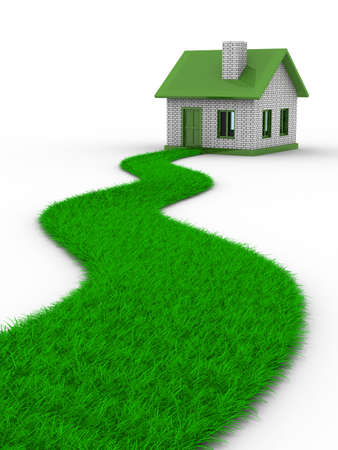 dream house: Road to house from grass. Isolated 3D image Stock Photo