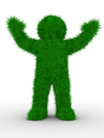 overgrown: man from grass on white. Isolated 3D image Stock Photo