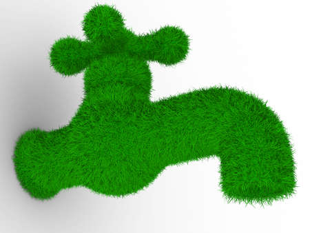 overgrown: tap on white background. Isolated 3D image