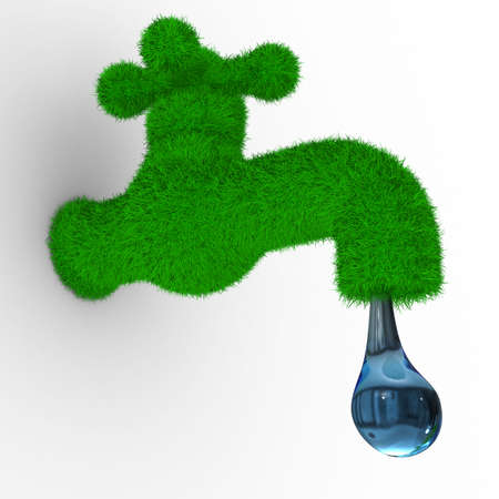 environmental conservation: tap on white background. Isolated 3D image