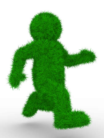 overgrown: running person on white background. Isolated 3D image Stock Photo