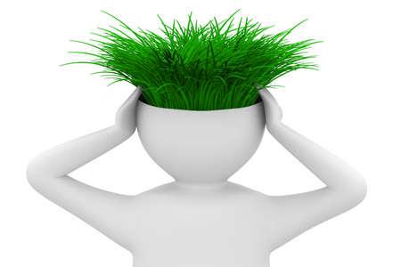 thinks: man thinks of ecology. Isolated 3D image Stock Photo