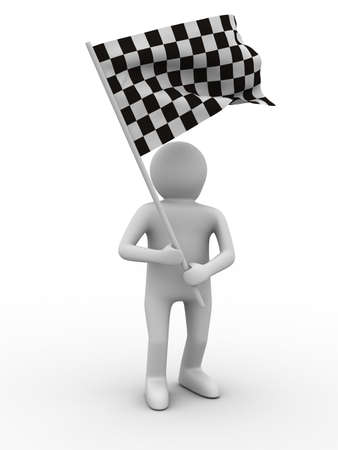 referees: man with flag on white background. Isolated 3D image