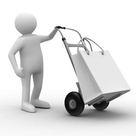 handtruck: hand truck on white background. Isolated 3D image