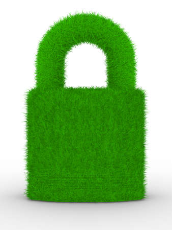 closed lock: grassy closed lock on white background. Isolated 3D image