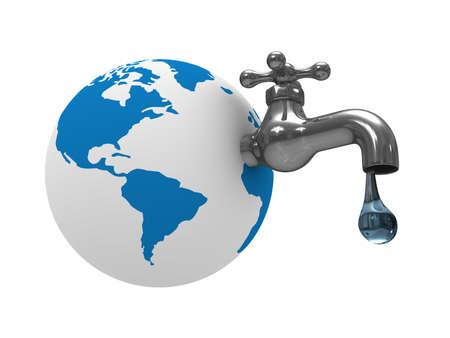waterbesparing: Water voorraden op aarde. Geïsoleerde 3D-beeld  Stockfoto