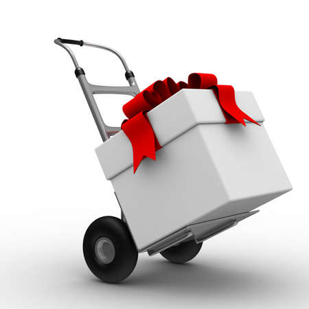 gift bag: hand truck with box on white background. Isolated 3D image Stock Photo