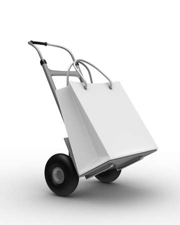 hand truck on white background. Isolated 3D image Stock Photo - 7711074