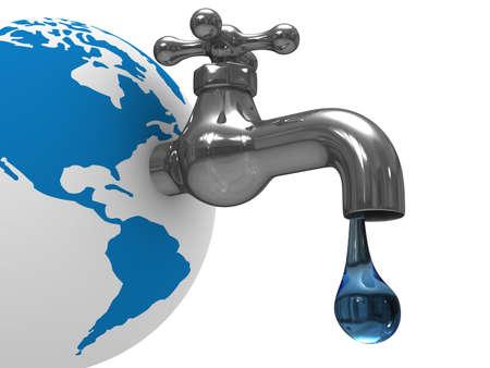 bomba de agua: Existencias de agua en la tierra. Imagen aislados 3D  Foto de archivo