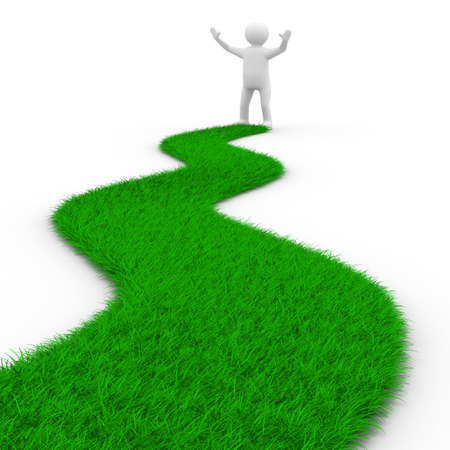 show plant: road from grass on white. Isolated 3D image Stock Photo