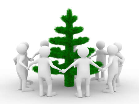 Group people around christmas tree. Isolated 3d image photo