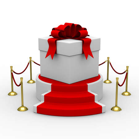 velvet ribbon: white gift box on podium. Isolated 3D image