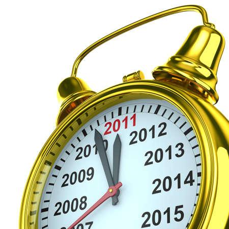 year calendar on alarm clock. Isolated 3D image Stock Photo - 7933710